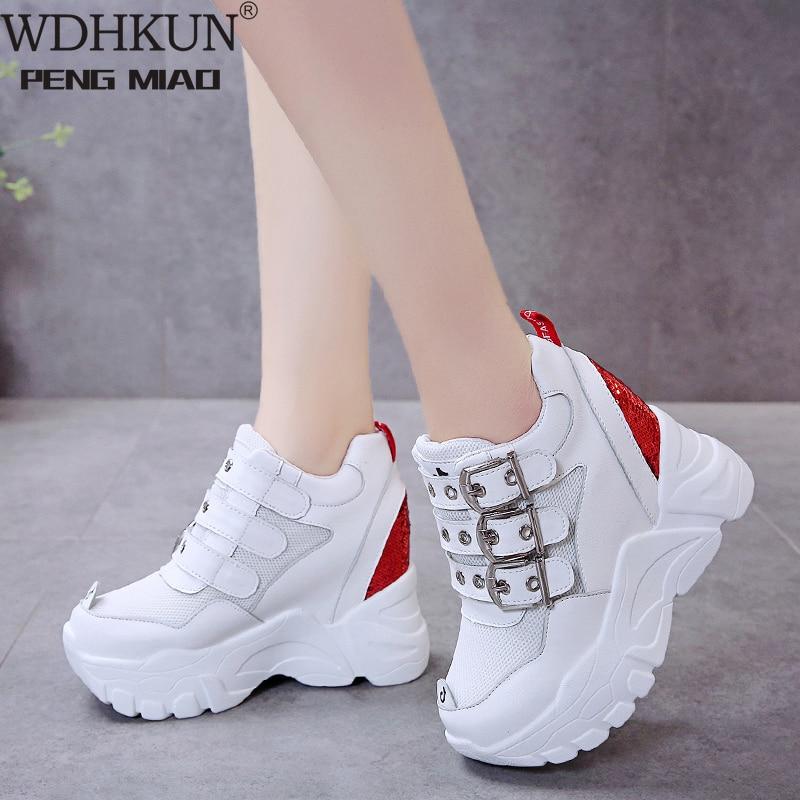 WDHKUN Net Red Hidden Wedge Platform Dad Shoes Women's Tide  2020 New Autumn Shoes Female Sports Casual Shoes Zapatos De Mujer