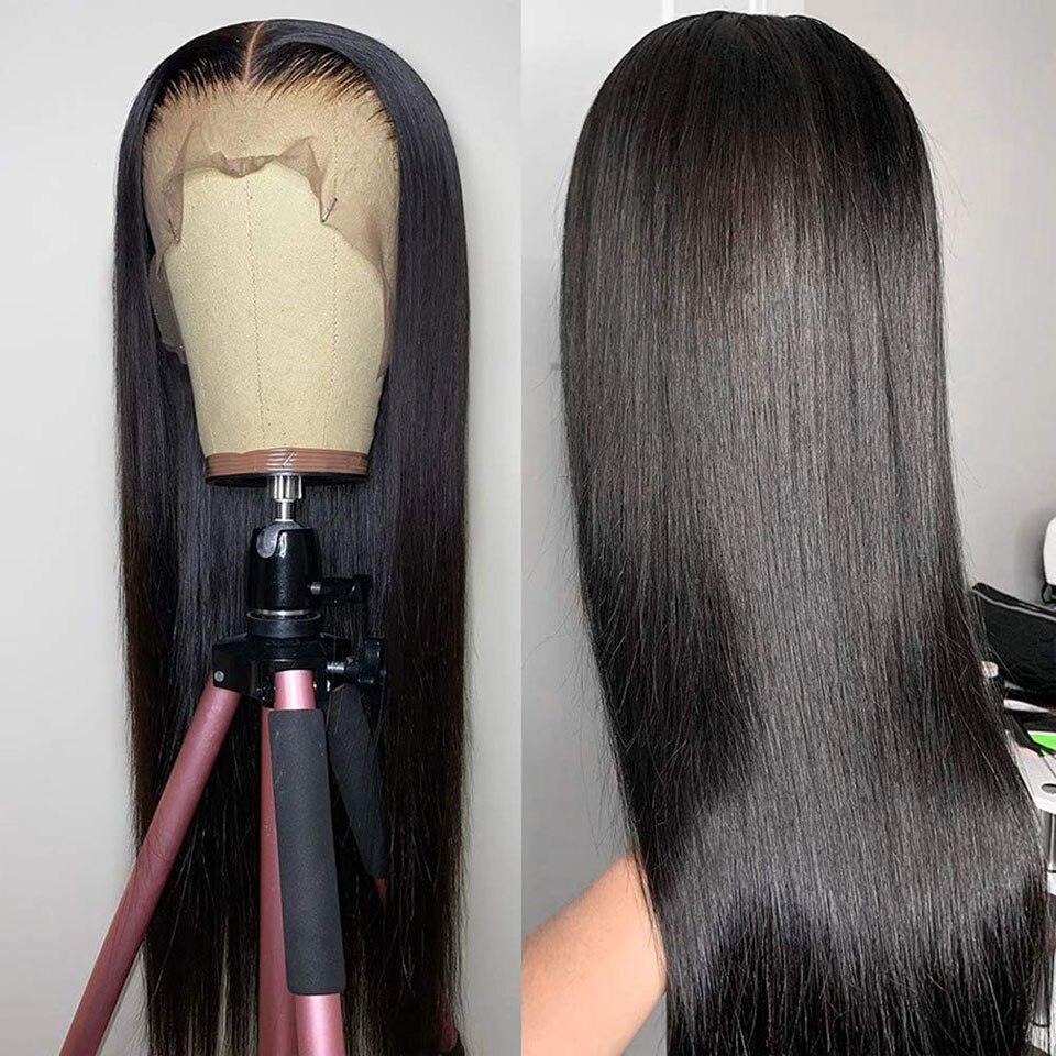 Бразильские бесклеевые прямые парики из человеческих волос 13x4 со шнуровкой спереди, швейцарские волосы от уха до уха, Детские волосы, предв...