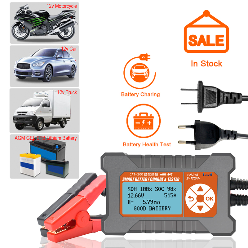 Car Battery Tester Analyzer Charger 12V 3A 2-120AH LCD Display Lead-Aicd Intelligent Smart Automatic Battery Analyzer New