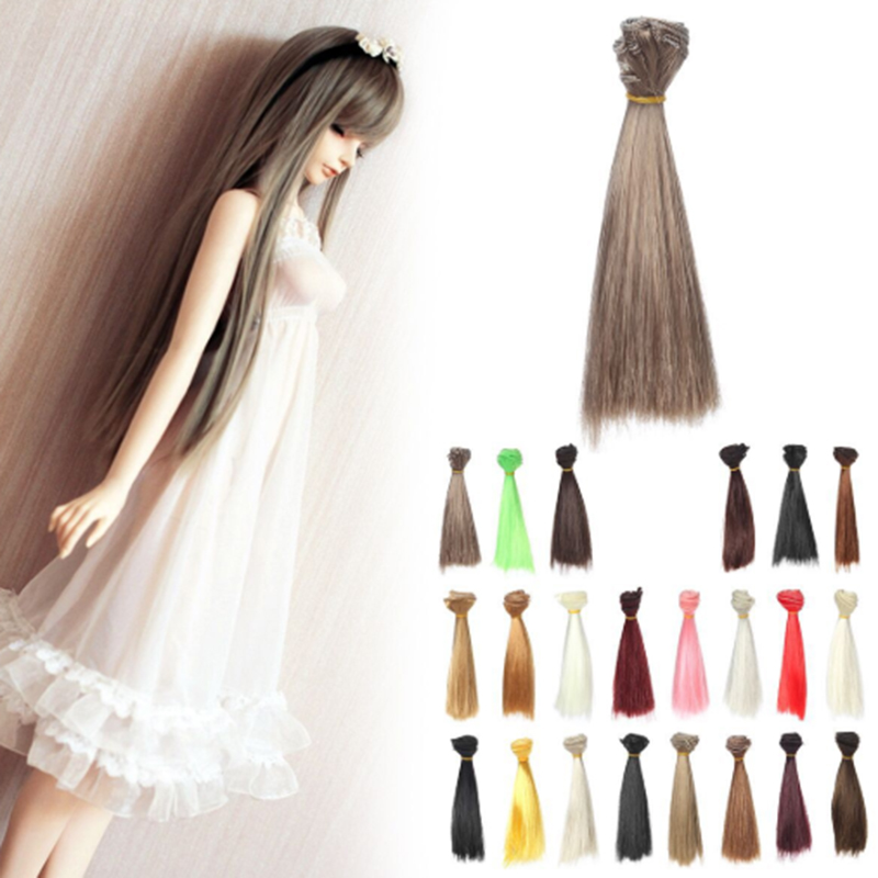 1 Pcs Doll Wig Hair Pure Multicolour 15cm*100CM 1PC 1/3 1/4 Straight Wig Hair Option Colors For DIY Accessories Kids Toys