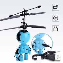 Com luz led presente jogo de indução infravermelha robô ao ar livre design voando crianças mini drone rc helicóptero brinquedos controle mão
