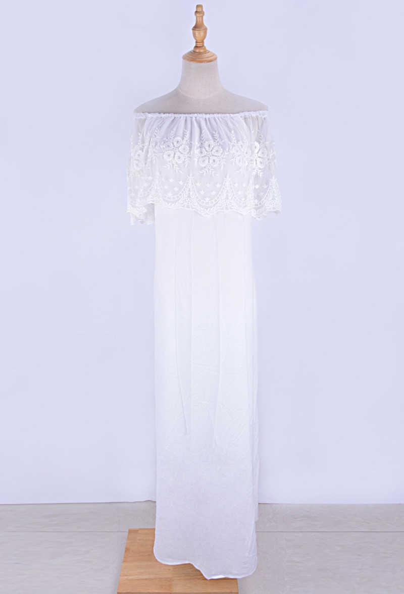 Fitshinling כבוי כתף תחרה ארוך מקיר לקיר-אורך שמלה בוהמי קיץ החוף לבן מסיבת שמלות סקסי חם מסיבת pareos סרפנים