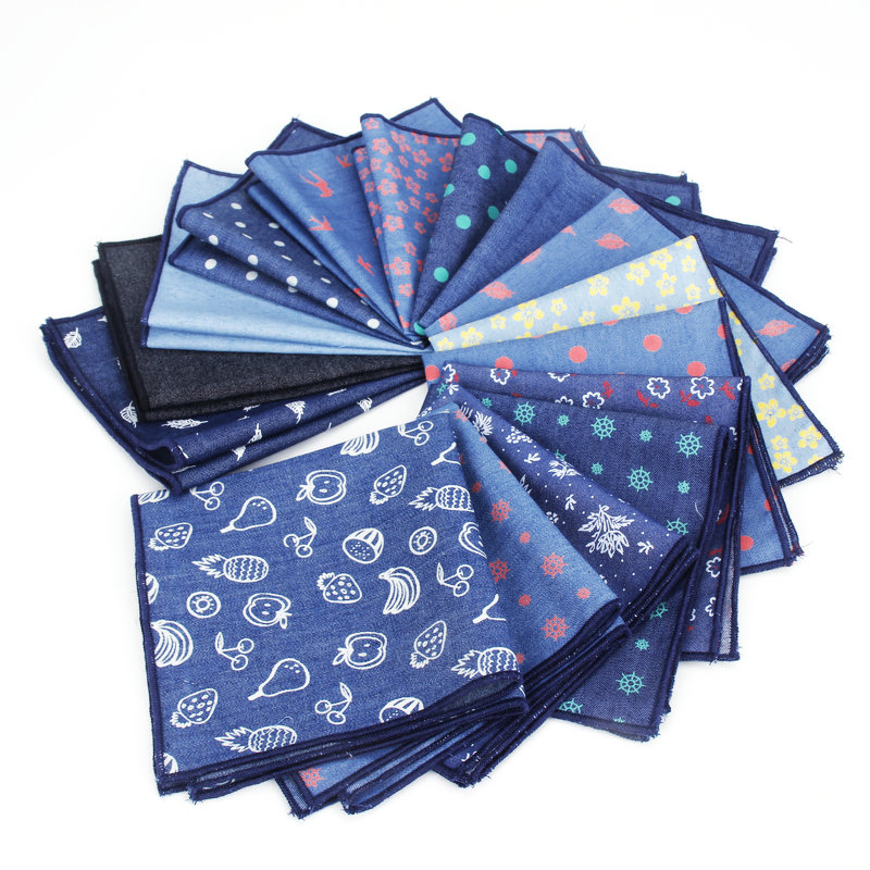 Solid Color Denim Cotton Handkerchiefs Navy Flower Dot Print Pocket Square Mens Casual Pockets Handkerchief Towels Wedding Hanky