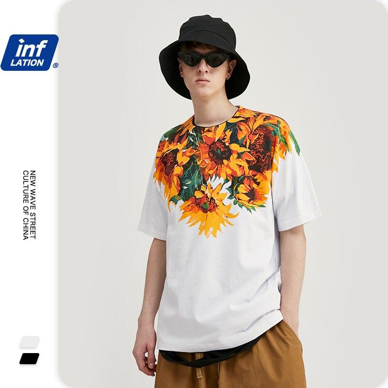 Inflation men tshirt flores e plantas impressão oversized solto ajuste tshirt para homem algodão harajuku engraçado t camisas 1152s20