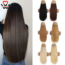 Silky Hair-Extention Fake Straight Pieces Synthetic-Hair Clip-In Natural Long Women MANWEI