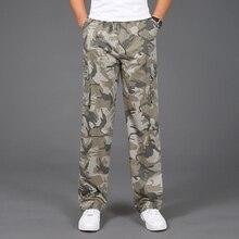 Мужские повседневные камуфляжные брюки, 100% хлопок, эластичные удобные брюки размера плюс 5XL для бега, 2020