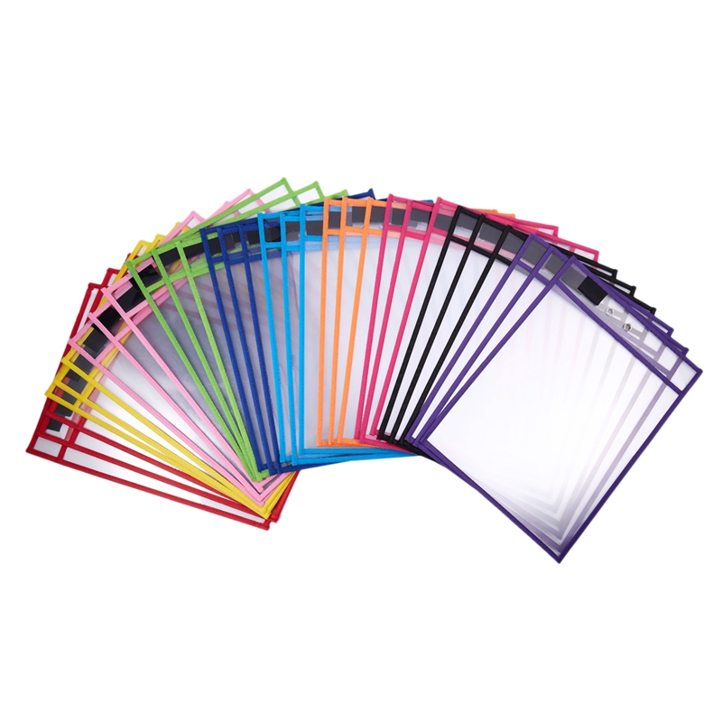 30 Pack Dry Erase Pockets PVC Transparent Sewn Dry Erase File Bag Reusable Dry Erase Bag