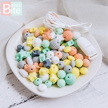 1set Baby Teether Silicone Beads Set Diy For Pacifier Clip Chain Nursing Bracelets Necklace Food Grade Perle Rodent Toy