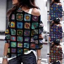 Женский пуловер с длинным рукавом Свободный диагональным воротником