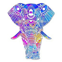 DreamArts Rainbow Colorful Elephant Wall Decals Vibrant Floral Pattern Animal Easy Peel and Stick Stickers Kids Room Decor