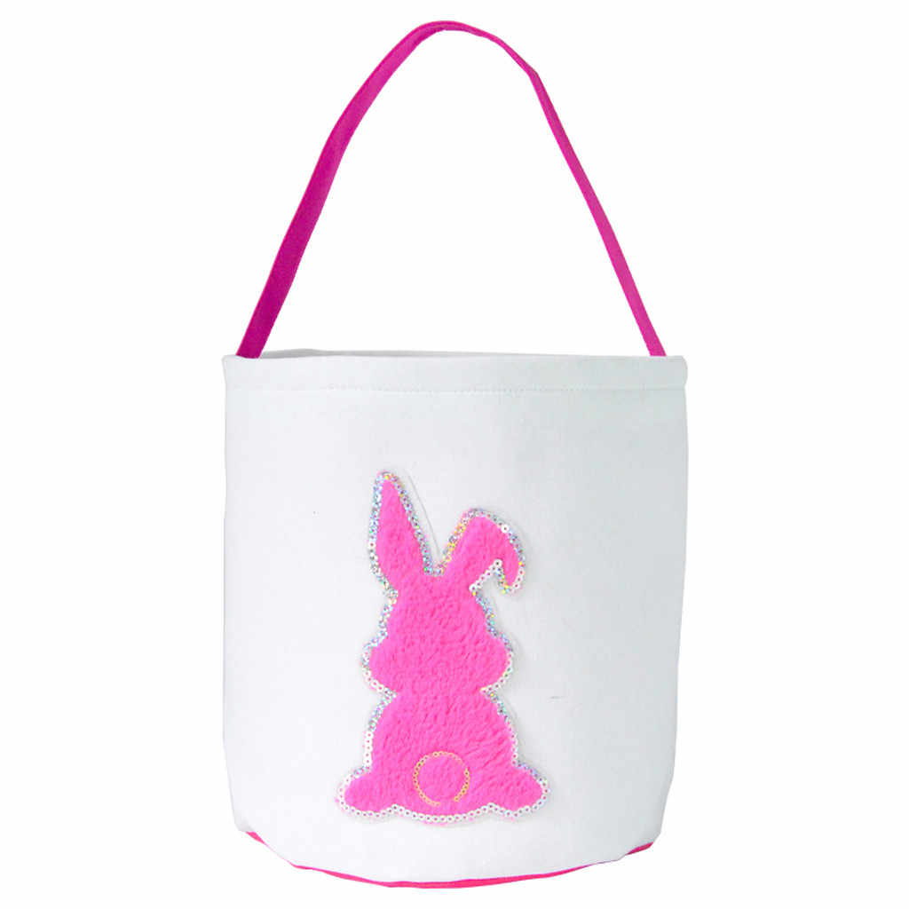 Happy Easter Burlap Bunny Ears Bags Easter Basket 43 Styles Canvas Bunny Buckets Easter Tote Bags with Rabbit Tail Kids Gift