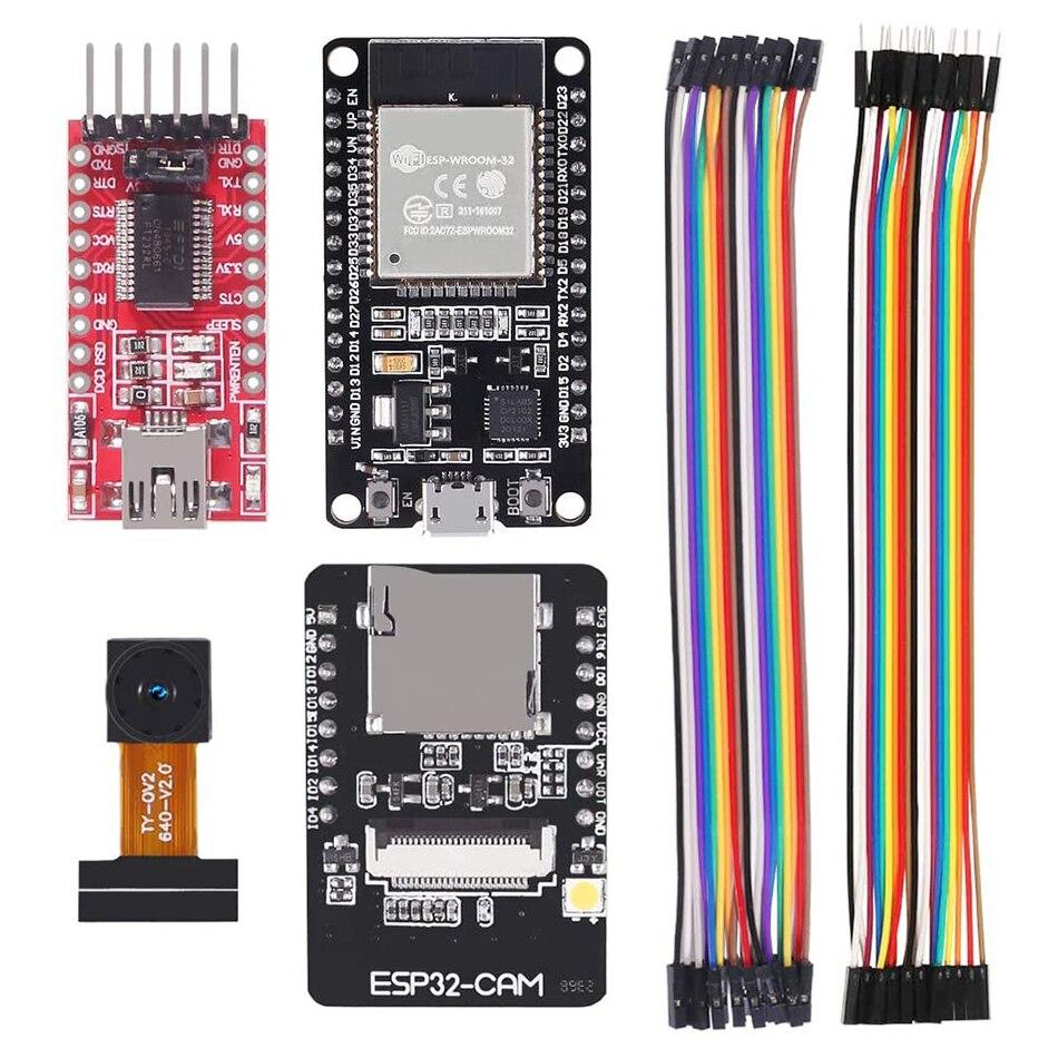 Esp32 cam placa de desenvolvimento wi fi + ESP-32S placa desenvolvimento ft232rl ftdi + jumper fio para arduino raspberry pi esp32 câmera