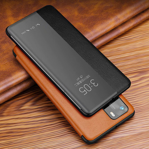 Original espejo Smart Touch View cuero genuino Flip Protect Cover para Huawei P40 Pro ventana a prueba de golpes funda para P 40 Pro