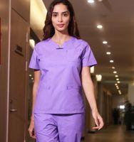 Women Medical Uniforms Doctor Spring/Summer Short Sleeved Scrub Sets Nurse Uniform Beauty Salon Dental Clinic Work Wear