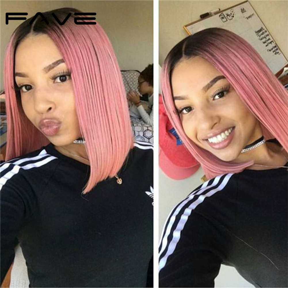 FAVE Hair Lace Front Wig Short Straight BOB Wig Brazilian Human Remy Hair Color Wigs T1B/ROSE Short Lace Wig  Free Shipping