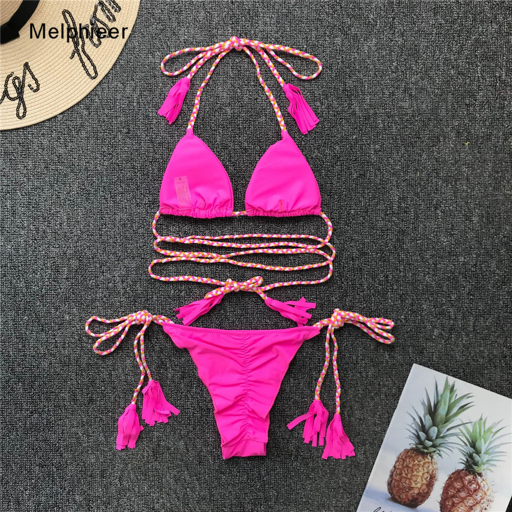 Melphieer Pink Braided Bikini Lady Biquini Scrunch Butt Brazilian Bikinis Set Women's Ties Halter Swimsuit Summer Beach Swimwear