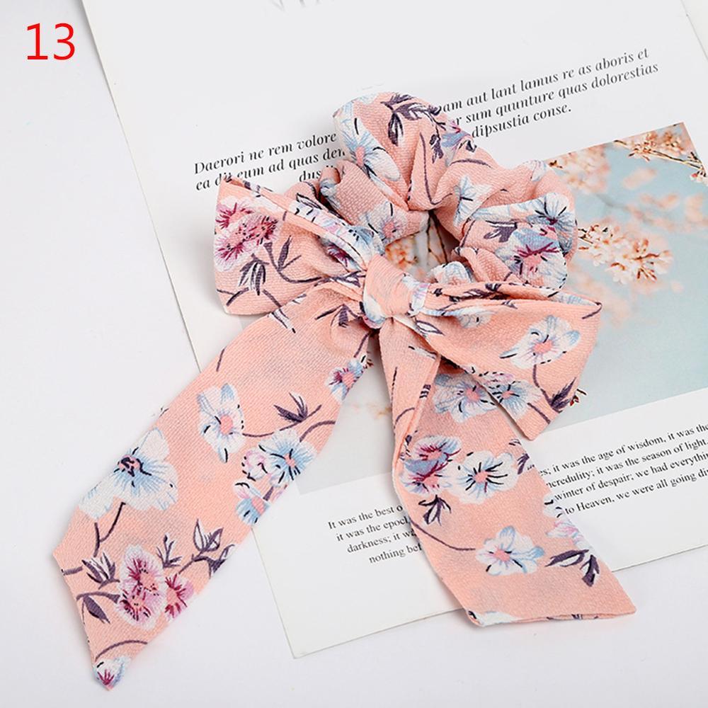 Femmes banderoles chouchous à pois imprimé Floral élastique noeud cheveux corde fille cheveux cravates coréen doux cheveux accessoires chapeaux 9