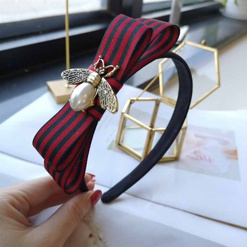 Korea Women Bee Bow Hairband Striped Fabric Vintage Headband Sweet Fashion Pearl Hair Accessories Lady All Match Headdress 2019