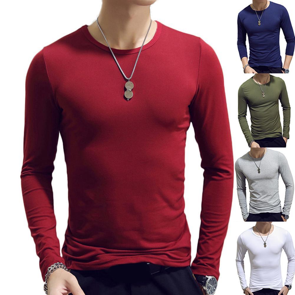 Мужская футболка с длинным рукавом, хлопок, весна-осень, термобелье, броня, мужские футболки с длинным рукавом, круглый вырез, повседневные м...