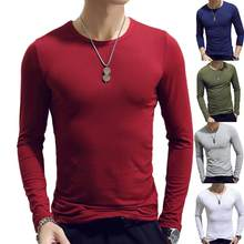 Camisa masculina t camisa longa de algodão leeve primavera outono camiseta térmica armadura masculina t camisas de manga completa em torno do pescoço casual masculino t quente