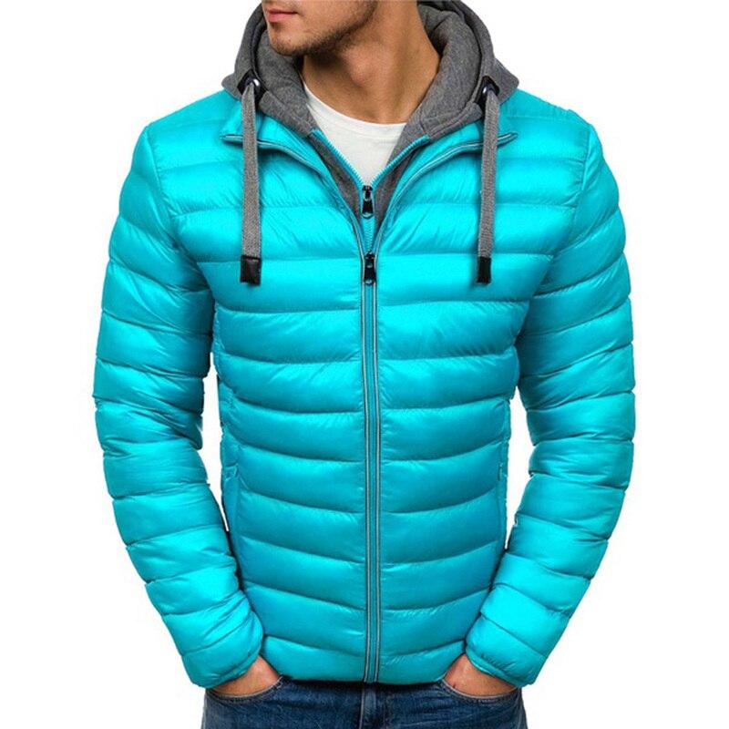ZOGAA Warm Parkas Men's Winter Warm Cotton Padded Jackets Casual Hooded Zipper Coats Men Solid Slim Fit Jacket Puffer Overcoat