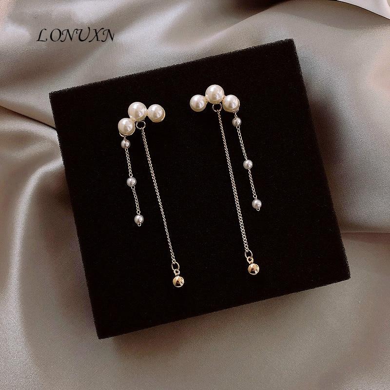 Haute qualité français perle sauvage longue gland 925 argent boucle d'oreille pour les femmes le meilleur cadeau d'anniversaire réception bijoux accessoires