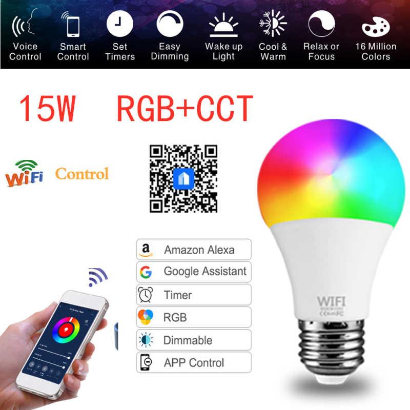 9W Wifi Slimme Lamp B22 E27 Led Rgb Lamp Werk Met Alexa/Google Thuis 220V/110V Rgb + Cct Dimbare Timer Functie Magic Bulb