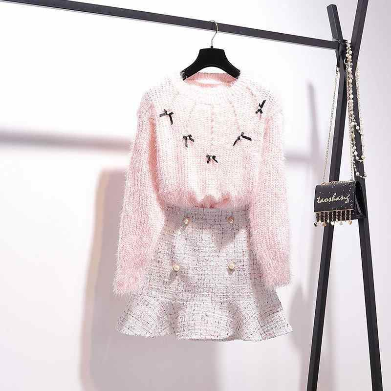 2019 New Autumn Winter Women Clothes Two Piece Set Female Sweater Knitted Top + Tweed Mermaid Skirt 2 Piece Suits Outfit F111