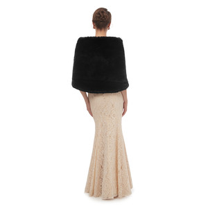 Image 5 - Black Cloak Shawl Adults Formal Jackets Cape Fourrure Shrugs For Women Winter Wedding Dress Wrap Womens Dresses With Cape 2020