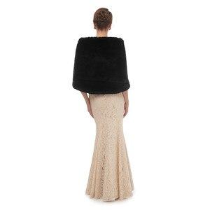Image 5 - Nero Mantello Scialle Adulti Formale Giubbotti Cape Fourrure Coprispalle Per Le Donne di Inverno Vestito Da Cerimonia Nuziale Wrap Vestiti delle Donne Con La Del Capo 2020