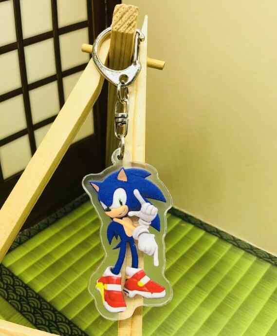 Gratis Pengiriman Baru 1 Buah Kartun Acrylic Sonic The Hedgehog Biru Hiasan Liontin Gantungan Kunci Gantungan Kunci Pesta Mainan Anak Hadiah