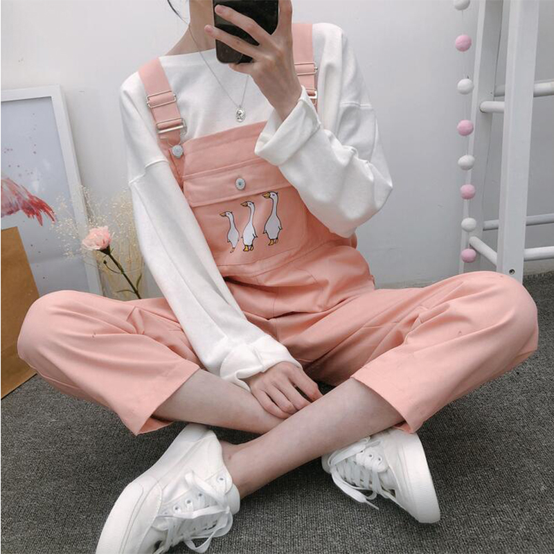 <font><b>Jumpsuits</b></font> Women Chic Strap Ankle-Length Harajuku Sweet Trendy Womens Pockets Students <font><b>Kawaii</b></font> Cartoon Printed Straight Girls Cute image