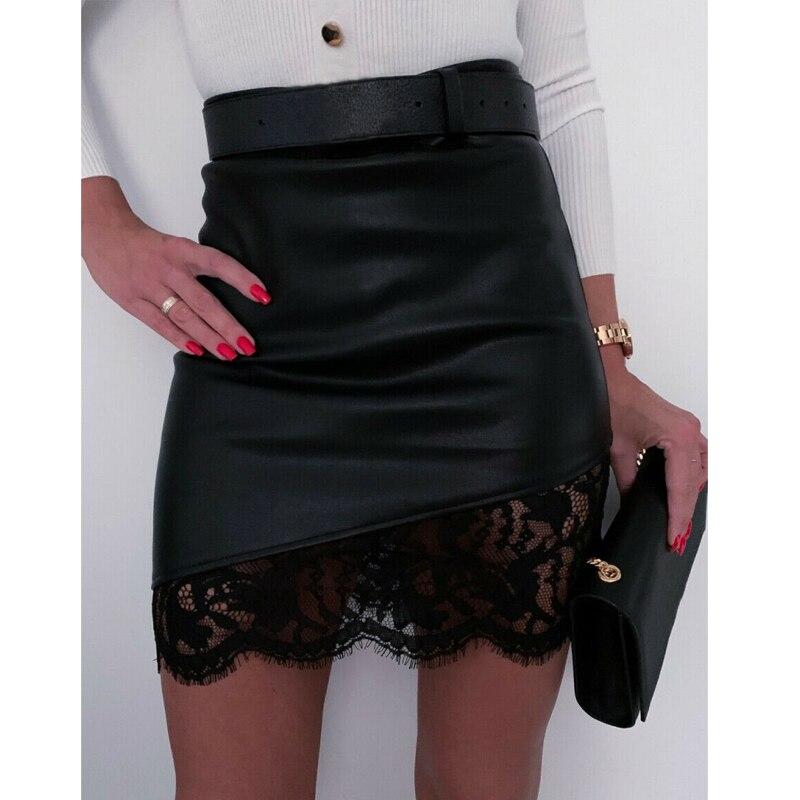 Women A-Line Short Skirt High Waist PU Leather Floral Zipper Mini Pencil Skirts