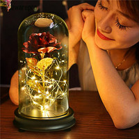 High end Gifts LED Romantic Rose Flower String Fairy Light Glass Bottle with Golden foil material for Christmas Gift Birthday