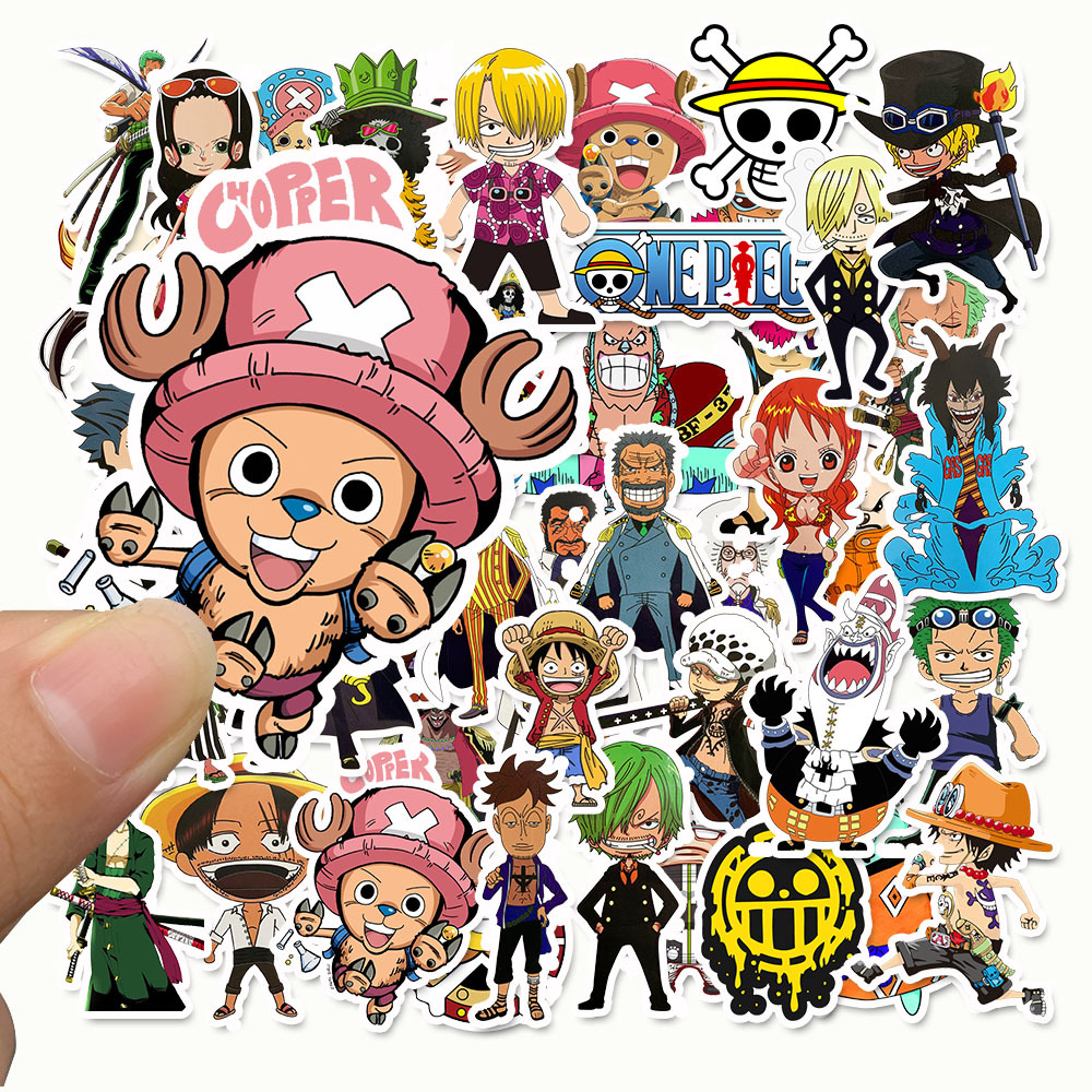 50pcs/pack Japanese Anime ONE PIECE Stickers For Notebook Motorcycle Skateboard Computer Mobile Phone Cartoon Toy Trunk Etc