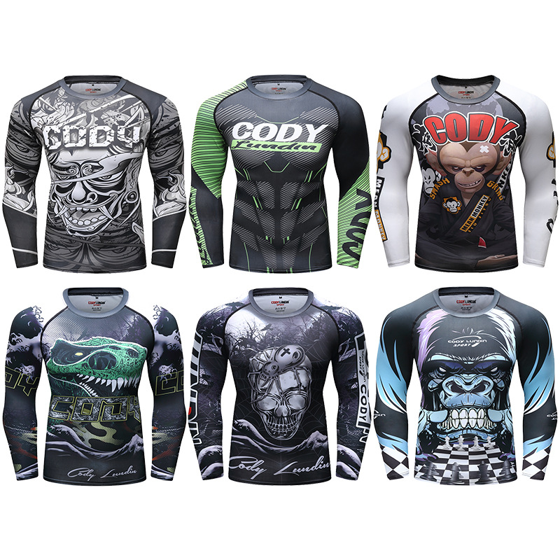 Rashguard Mma Men Muay Thai Printed T Shirt Jiu Jusit Bjj Long Sleeve Kickboxing MMA Compression Shirt Boxe Fight Boxing Jerseys