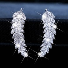 Jewelry Antique Micro Inlay Zircon Gold And Silver Leaves Feather Shape Pendant Charms Earring Handmade For Women(China)