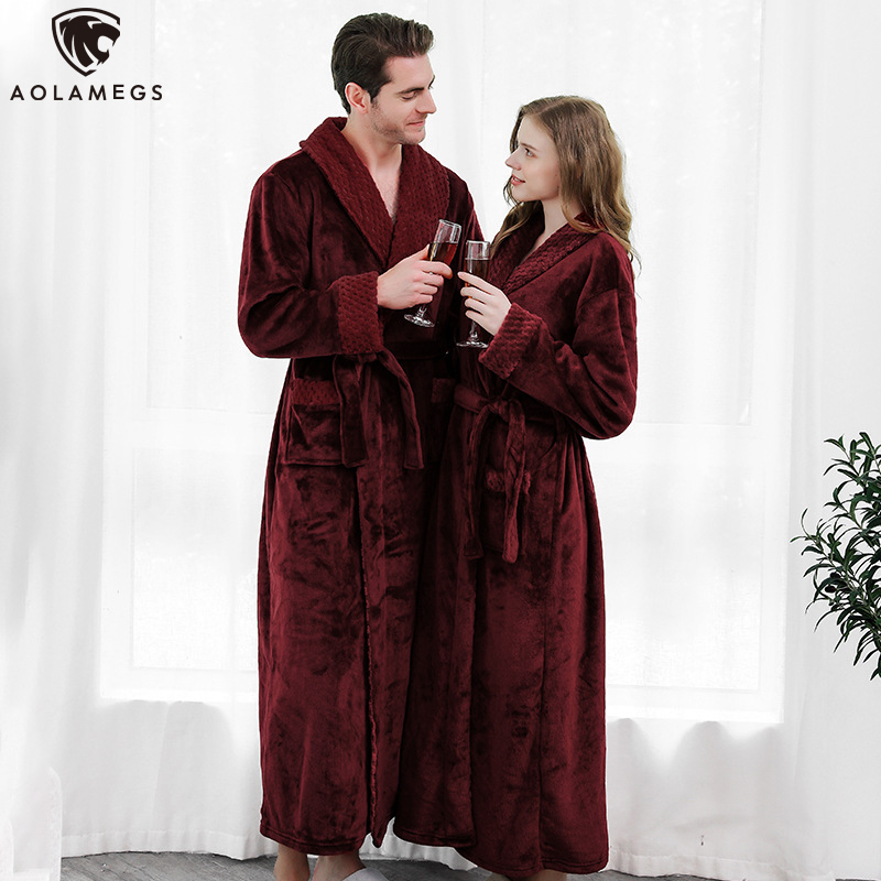 Aolamegs Men Bathrobe Flannel Night Gown Soft Long Open Sleepwear Cozy Warm Advanced Homewear Baggy Style Couple Pajamas Winter