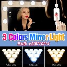 Mirror-Light Vanity Makeup-Lamp Dressing-Table LED Brightness Bedroom USB 2 12V 6-10-14-Bulbs