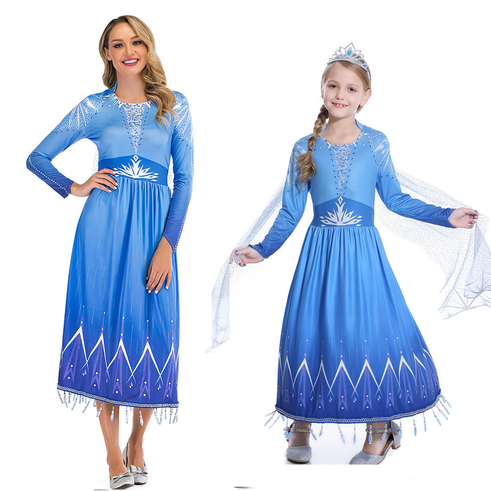 2019 New Elsa 2 Children Adult Dress Frozen 2 Christmas Set Cosplay Elsa Birthday Party Blue Evening Dress Parent-child Set