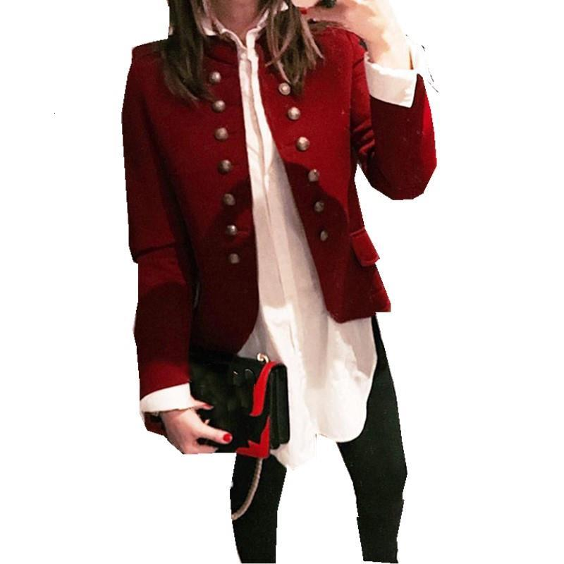 Autumn Women Red Yellow Blazer Jacket Office Lady Turn Down Collar Casual Jacket Square Collar Slim Ol Botton Jackets