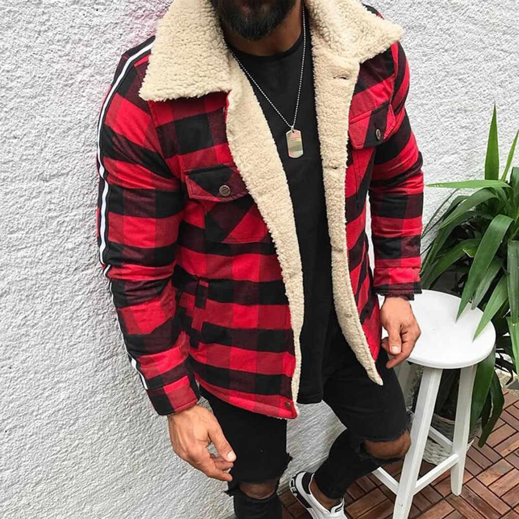 Plus Size Winter Coat Men Fashion Plaid Compound Casual Button Cardigan Turn Down Neck Plush Men Casual Jacket Coat