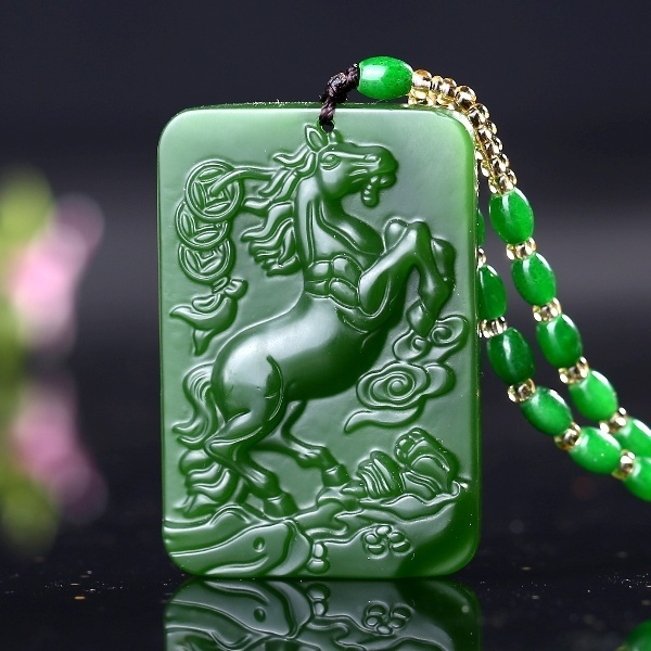 Hetian Jade Jade Horse Zodiac Immediately Rich Pendant Spinach Green Jasper Rich Ma Yu Card Immediately (Color: Green)