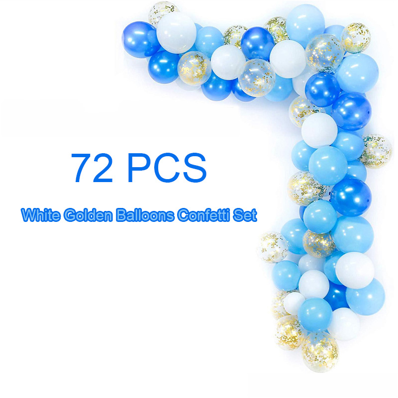 70pcs 12inch Blue White Golden Balloons Arch Confetti Set Charming Birthday Party Wedding Anniversary Baby Shower Decoration