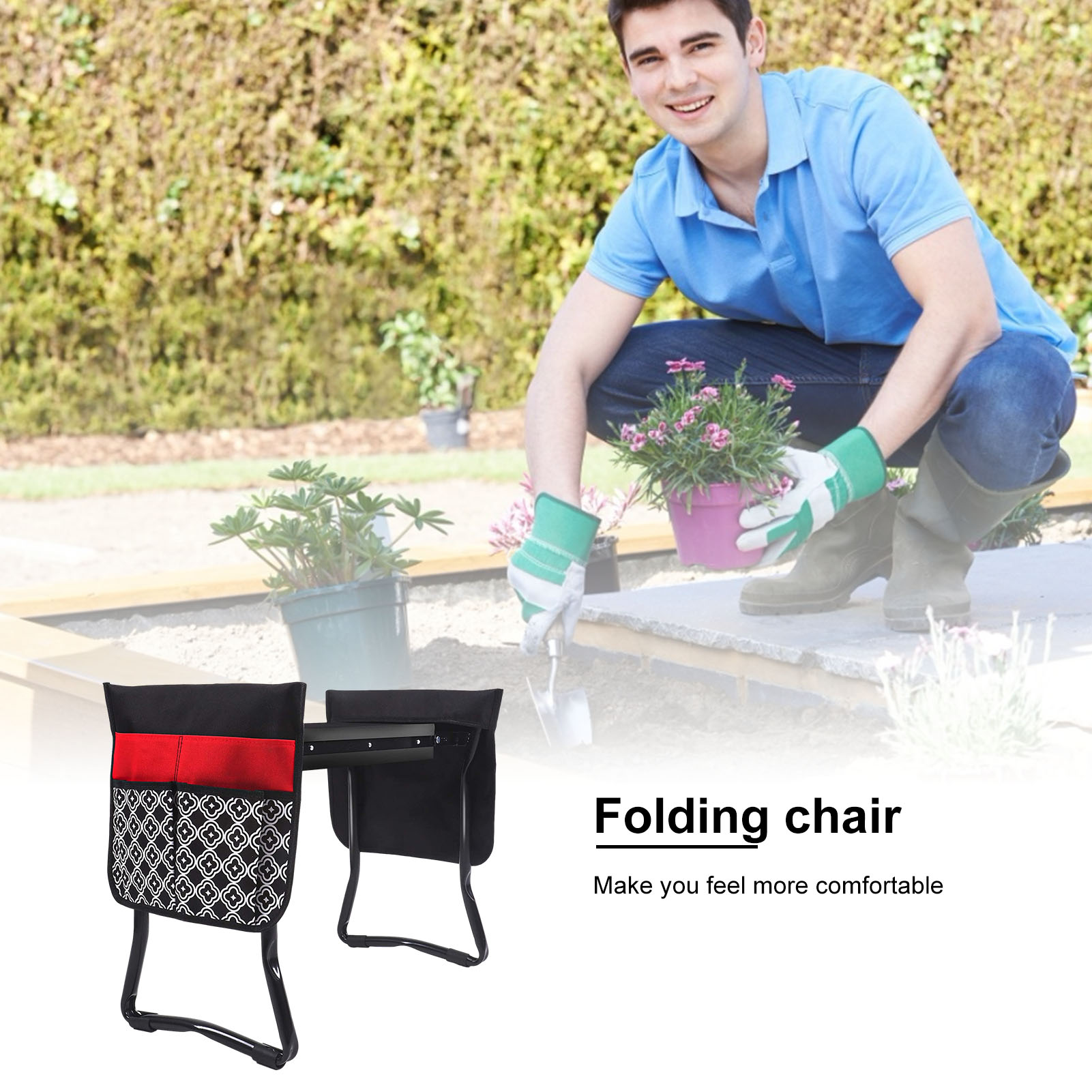 Garden Kneeler And Seat Folding Stainless Steel Garden Stool With Side Pocket Garden Kneeling Mat Gardening Gifts Supply