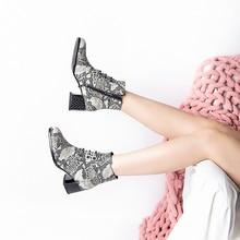 цена на 2019 New Women Martin Boots Snake Print Block High-heeled 5.3cm Short Ankle Boots Cool Rivet Zipper Bota Feminina A195-40