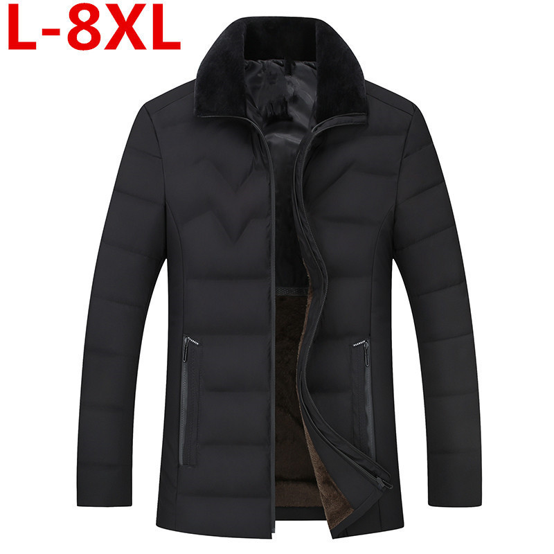 8XL Plus Size Clothing Winter Jacket Men Warm Causal Parkas Cotton Turn-down Collar Winter Jacket Male Padded Overcoat Outerwear