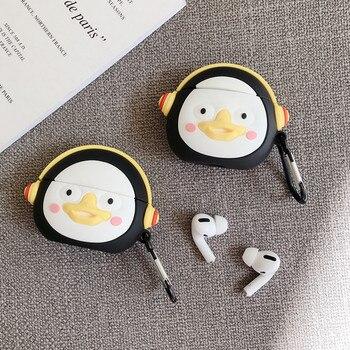 Für AirPods Pro 2 1 Cartoon Nette Pinguin Kopfhörer Fall für Apple AirPods 1 2 3 Bluetooth Kopfhörer Weiche Silikon abdeckung mit Haken