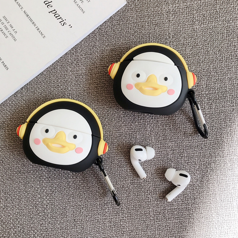 For AirPods Pro 2 1 Cartoon Cute Penguin Headphone Case For Apple AirPods 1 2 3 Bluetooth Earphone Soft Silicone Cover With Hook