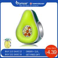 Bamoer 925 prata esterlina jóias esmalte verde abacate fruta charme para pulseira de prata original 3mm feminino jóias fazendo bsc129